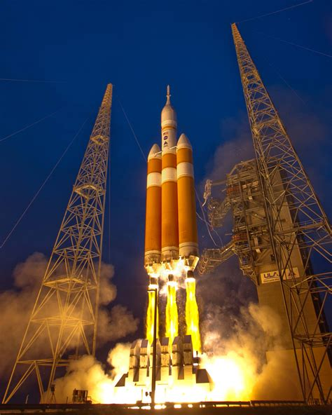 A Delta IV Heavy rocket lifts off from Space Launch