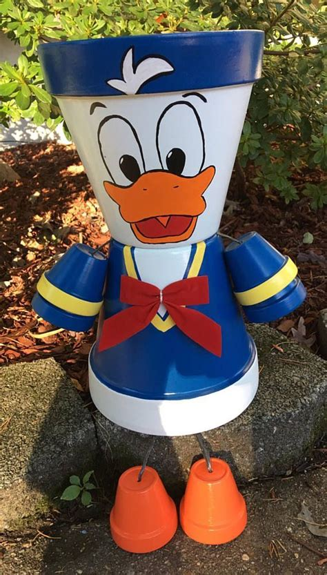 Donald Duck or Daisy Duck Flower Pot People Clay Planter